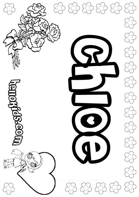 Coloring Pages Of The Name Chloe   girls name coloring pages chloe girly name to color