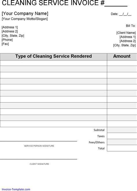 cleaning invoice template word cleaning invoice templates free premium
