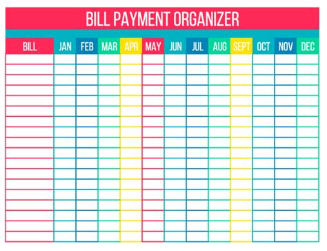free bill paying organizer template 2016 monthly bill organizer search results calendar 2015