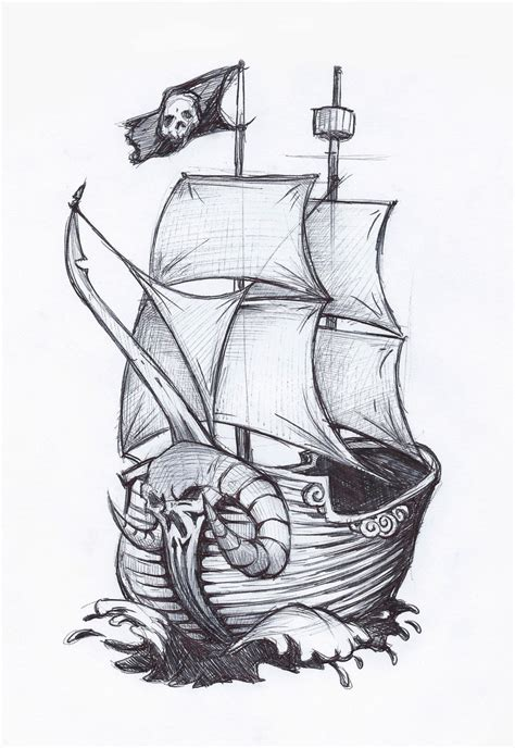 dessin bateau tattoo pirate ship drawing pirate ship by jafaime on