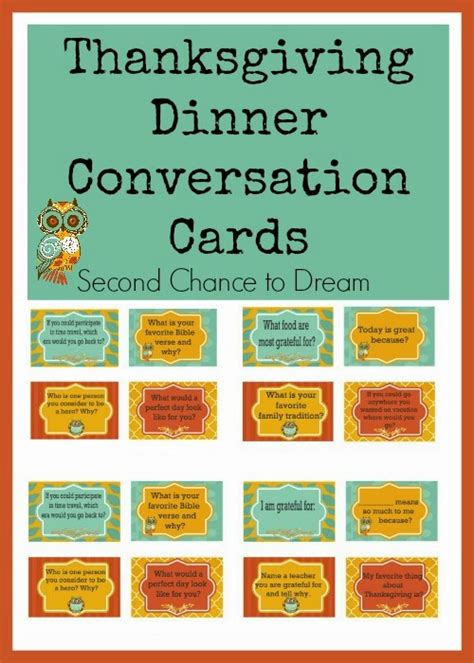 dinner conversation starters cards thanksgiving dinner conversation cards second chance to