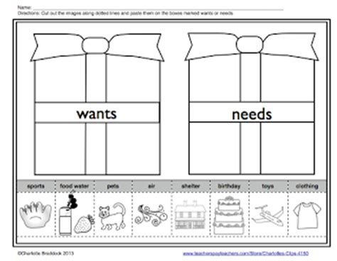 kindergarten activities needs and wants charlotte s clips and kindergarten kids wants and needs