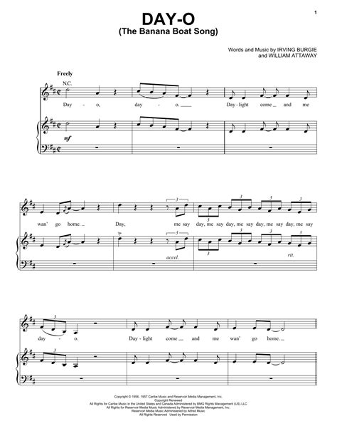 banana boat song notes day o the banana boat song sheet music direct