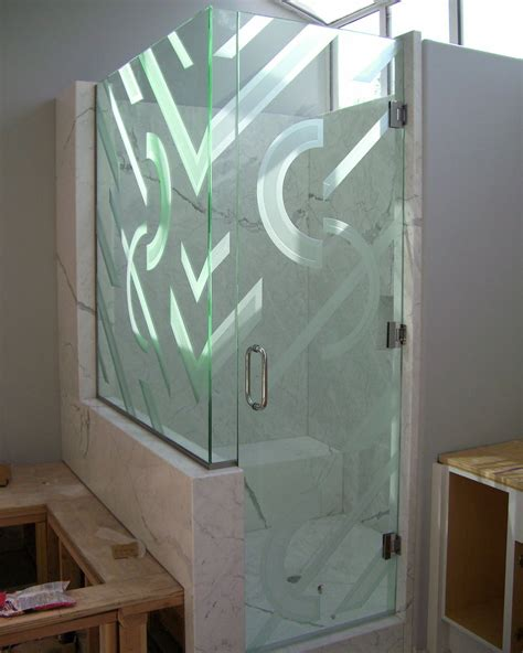 Contemporary Glass Designs By Etched Carved Sans Soucie Decorative Shower Doors