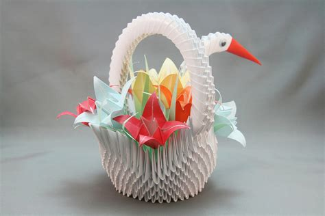 3d Origami Sculptures - 3d origami swan basket www imgkid the image kid