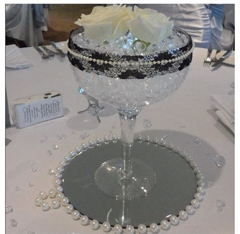 Giant Martini Glass Decoration Water Pearls And White Roses Black Lace Diamonds And