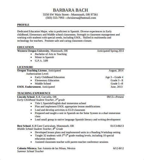 Resume Exles Elementary Sle Elementary Resume 12 Documents In Pdf Word