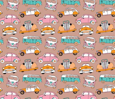 quirky pattern fabric vintage quirky oldtimers and car icons illustration