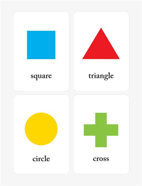 Card Shapes Templates by Printable Shapes Flash Cards For Preschool Learning Mr