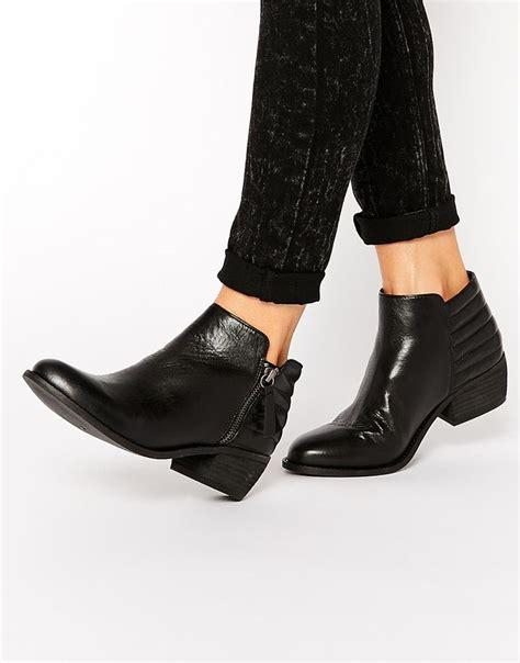 dune petrie black leather ridge flat ankle boots flats