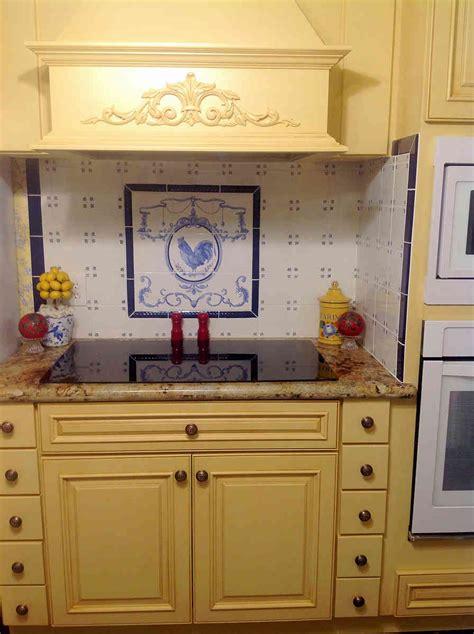ornamental rooster blue white backsplash tile mural