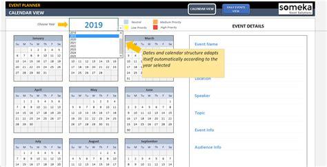 dynamic event calendar interactive excel tempate
