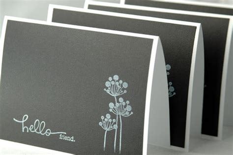 handmade black  white note cards modern note cards