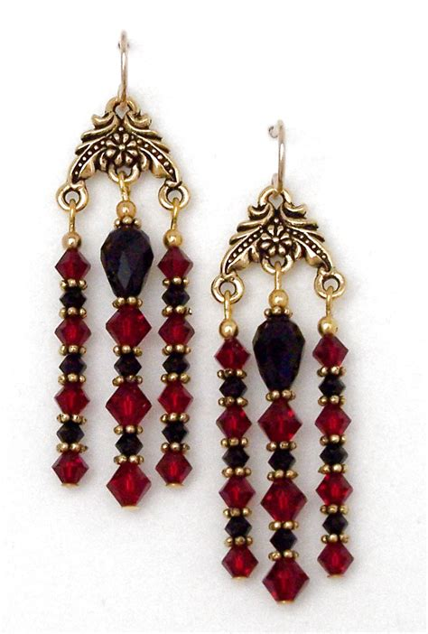 Black Chandelier Earrings With Crystals And Black Chandelier Earrings