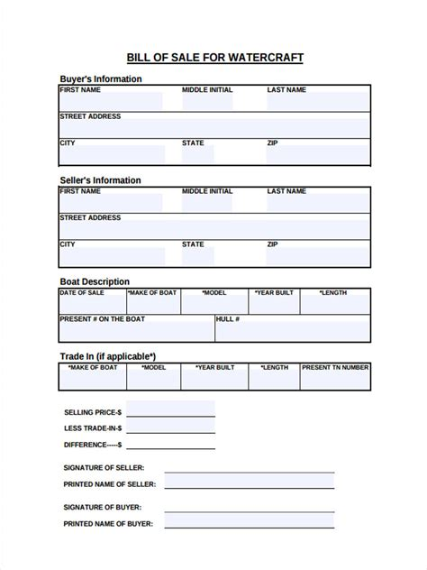 Watercraft Bill Of Sale Form 5 Free Documents In Word Pdf Personal Watercraft Bill Of Sale Template