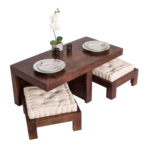 Coffee Table Pads Shade Dakota Compact Coffee Table Set With Two Stools Seat Pads Solid Wood Ebay