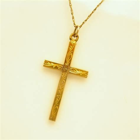 cross pendants for jewelry vintage 12kt gold filled etched cross pendant necklace