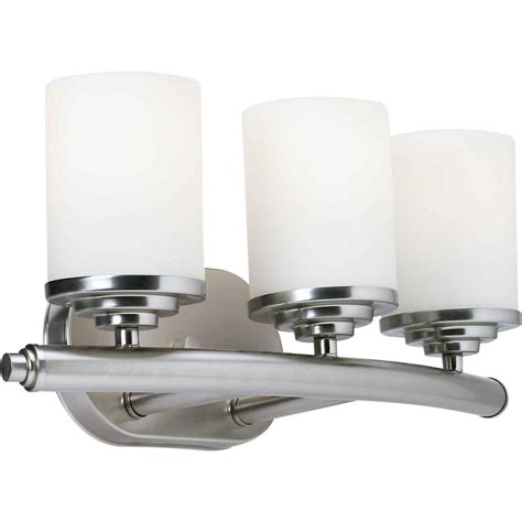 bathroom vanity light shades talista 3 light brushed nickel bath vanity light with satin opal glass shade cli