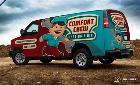 retro themed vehicle wraps for hvac and service