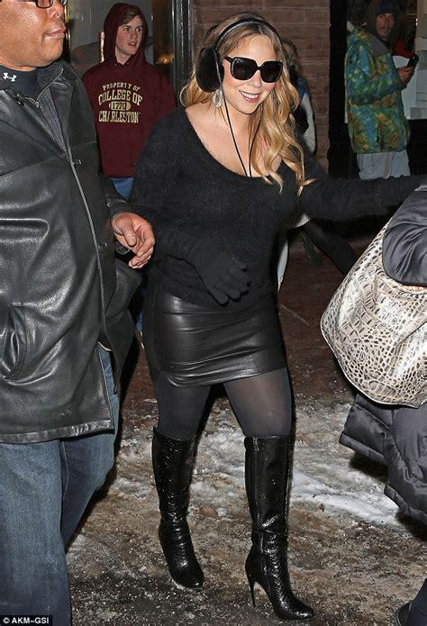 mariah boot mariah carey wears hip hugging leather skirt and high