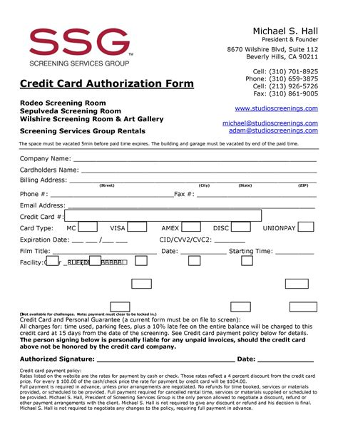 Credit Guarantee Form Credit Card Guarantee Form