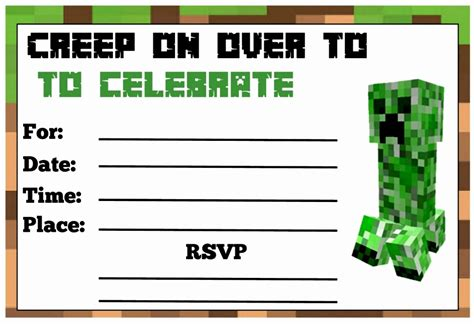 6 Minecraft Birthday Party Invitations Templates Teerg Templatesz234 Free Printable Minecraft Birthday Invitations Templates