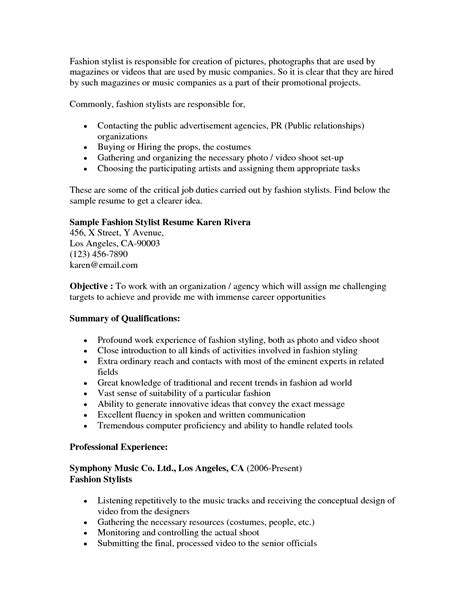 fashion stylist resume exles fashion stylist resume objective http www resumecareer