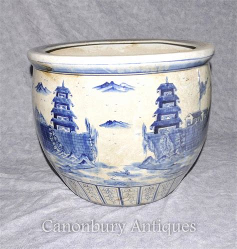 Pair Chinese Kangxi Porcelain Blue And White Planters Pots Blue And White Porcelain Planters