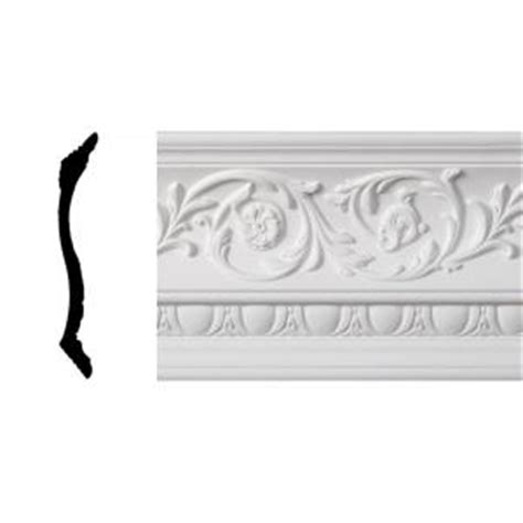 decorative crown moulding home depot lynea molding foliage collection 8 in x 8 ft polyurethane crown moulding fc48402 the home depot