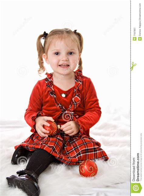 christmas girl toddler stock image image of balls