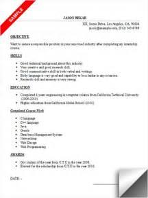resume sle for internship experience resumes