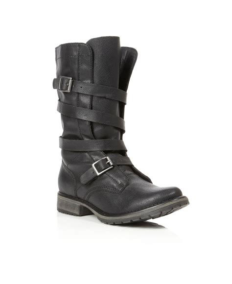 madden boots black madden razcal mg buckle calf boots in black lyst