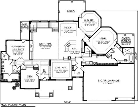 house plans with inlaw quarters ranch style house plans 3418 square foot home 1 story