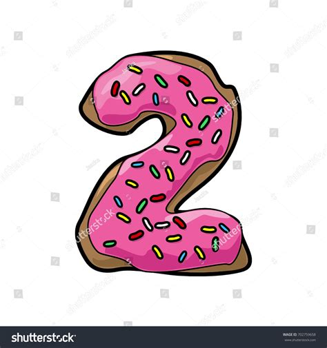 Donuts Number decorative donut font number 2 stock vector 702759658
