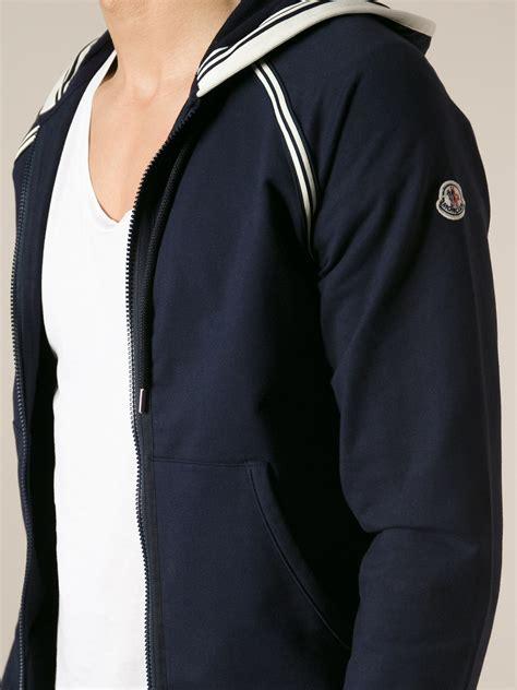 Hoodie Blur 1 moncler zip front hoodie in blue for lyst