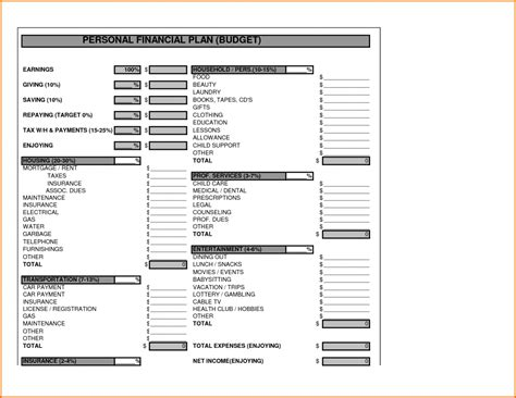 Financial Template For Business Plan Financial Planning Template Form Templat Project Financial