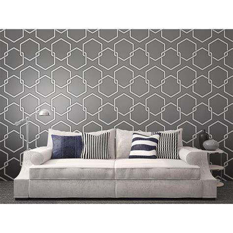 honeycomb gray designer removable wallpaper honeycomb industrial loft grey white black removable