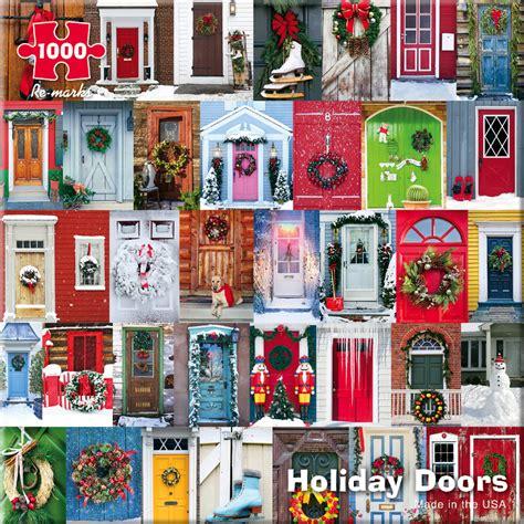 colorful doors jigsaw puzzle puzzlewarehouse com holiday doors jigsaw puzzle puzzlewarehouse com