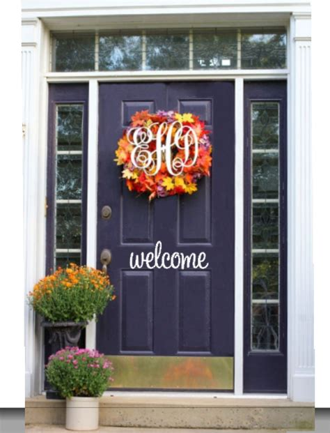 welcome decal for front door front door welcome vinyl decal sticker by themonogrammedprep