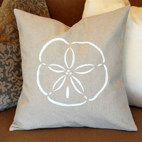 Sand Dollar Pillow by 16 Canvas Throw Pillow Cover With Sand Dollar Stenciled