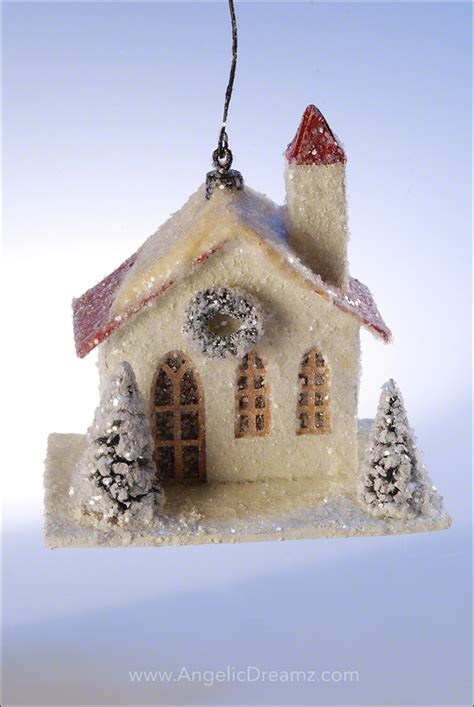 traditional paper christmas decorations bethany lowe designs 2012 traditional paper house ornament white church