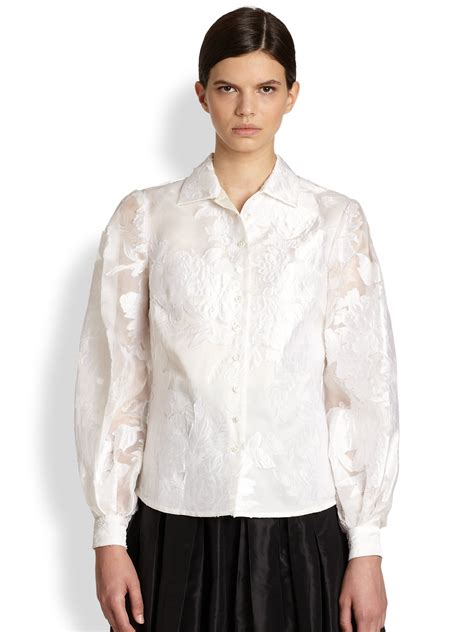 Carolina Blouse carolina herrera collection floral jacquard organza blouse in white white lyst