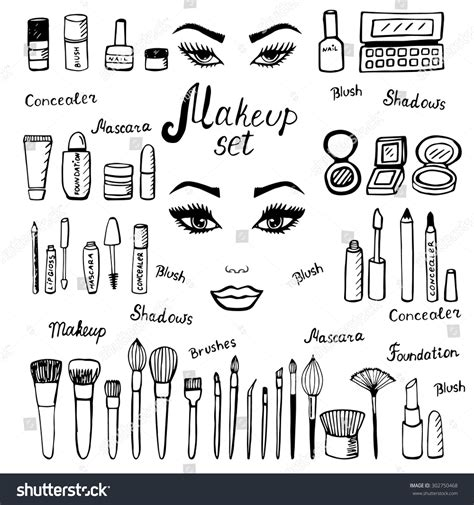 Make Kit Doodle Makeup Set Collection Stock Vector
