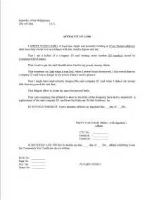 affidavit of loss sss id template affidavit of loss exle with statement and