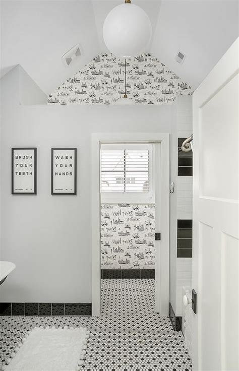 white bathroom tiles with black grout contemporary