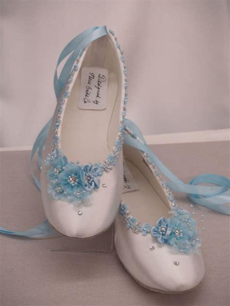 flower satin shoes blue wedding flats white satin shoes blue bridal flat