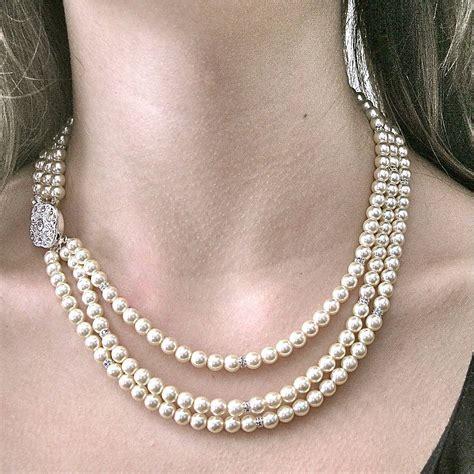 three strand rhinestone pearl necklace by gama weddings