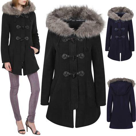 Hooded Coat new duffle knit coat fur hooded brushed