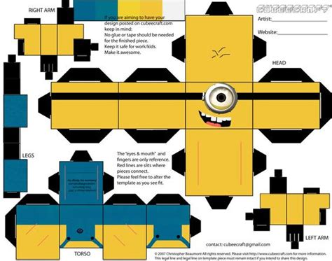 Despicable Me Papercraft - paper craft d orsay the minions and the