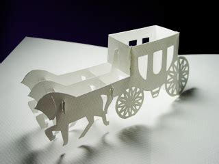 Origami Carriage - wedding carriage kirigami